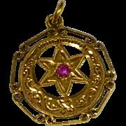 Vintage 18 karat Gold  and Ruby Moroccan Pendant