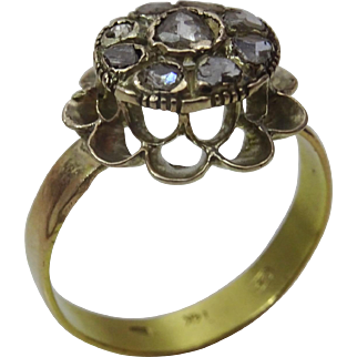 Vintage 9 and 14 karat Gold and Diamante Turkish Ring