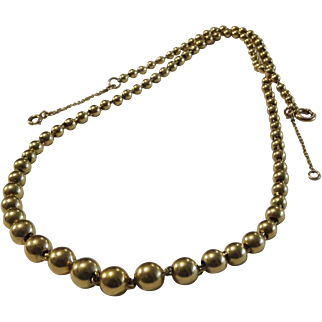 Vintage French 18 karat Gold ball Necklace