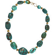 Tibetan Turquoise and vintage 18 k gold Beads Necklace