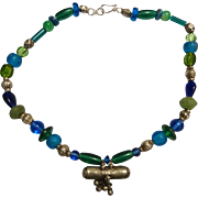 Vibrant Blue Green Glass and vintage ethnic silver necklace