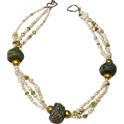Three Strand Mixed Pearls, Peridot and 18k gold wax beads and Vintage Syrian Ceramic Bead Necklace