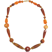 Carnelian, Agate and 18 k Gold Wax bead Necklace