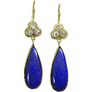 Handmade Diamond and Lapis Lazuli 18 k Gold Earrings