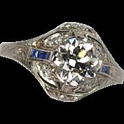 Art Deco Platinum Diamond & Sapphire Engagement Ring 1.41ct