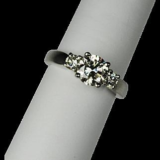 Classic 3 stone 1.52 ctw. Diamond and Platinum Ring