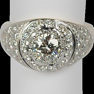 Large Chunky Two-Tone Estate 14kt Pavé Diamond Ring 3.0 ctw
