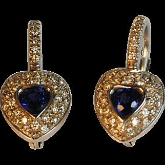 Sapphire and Diamond Heart Earrings 18kt White Gold