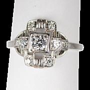 Art Deco Platinum and Diamond Ring .75 ctw.