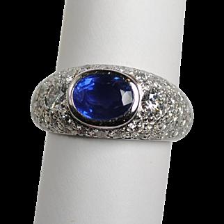 Estate 1.50 carat Sapphire and Diamond 1.90ctw Ring in Platinum