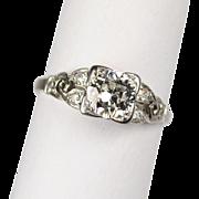 Art Deco Platinum and Diamond Ring .79 carats