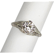 Art Deco Platinum 1.03 Carat Diamond Ring