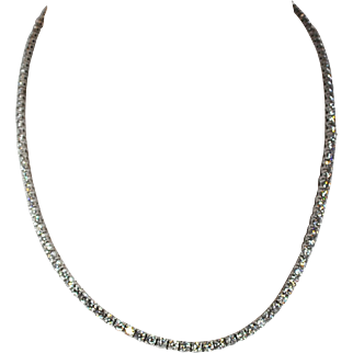 18kt White Gold Diamond Riviera Necklace 10.97 ctw.