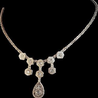 Edwardian Sandblasted Festoon Style  Diamond  Necklace 1.16ctw.