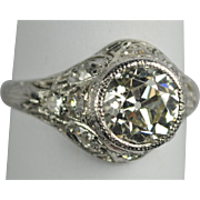 On Sale Art Deco Platinum & Diamond Engagement Ring 2.13 carats