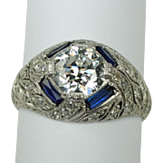 Art Deco Platinum and Diamond Ring 1.22 carats
