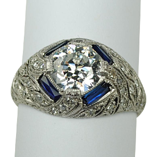 Art Deco Platinum and Diamond Ring 1.22 carats