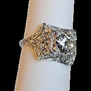 Art Deco Platinum Diamond Engagement Ring 2.10 carats