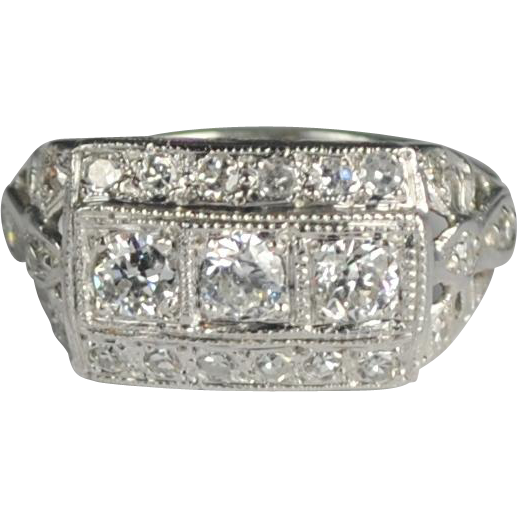 deco wide cigar band ring from