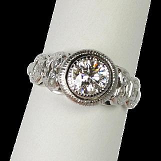 Art Deco Style Platinum Diamond Ring .75 carats