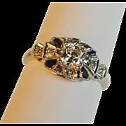 Art Deco Platinum Diamond Engagement Ring 0.62ct