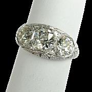 Art Deco Three Stone Diamond Ring in Platinum 2.75 ctw.