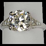 Diamond Platinum Engagement Ring Art Deco Style 2.41 carats