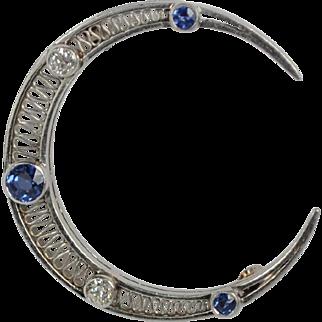 Art Deco Platinum, Diamond and Sapphire Crescent Moon Pin
