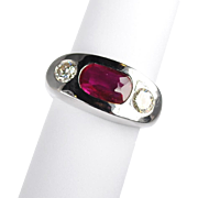 Bold Unisex 3 Stone Ruby and Diamond 14kt White Gold Ring