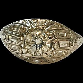 Art Deco Platinum Diamond .75 carat Ring