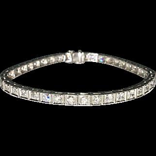 Art Deco Line Bracelet in Platinum 5.0ctw.