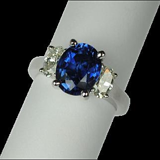 3.95 Carat Sapphire and Diamond 3 Stone Ring
