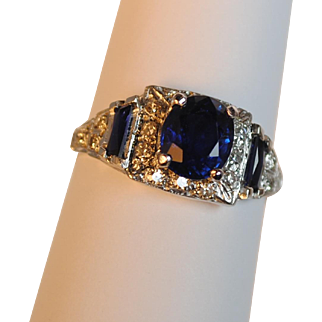 Art Deco 2.10 carat Sapphire and Diamond Platinum Ring