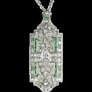 Art Deco Platinum and Diamond Pin/Pendant 3.0 ctw.