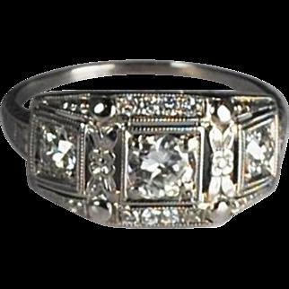 Art Deco 18kt 3 Stone Diamond Ring/Band
