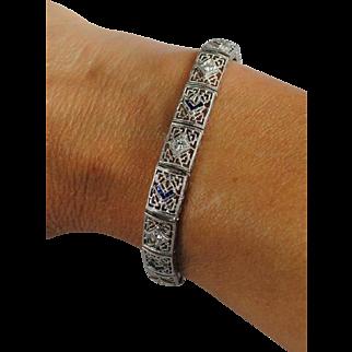 Art Deco 14kt/Platinum Diamond & Sapphire Bracelet by ESEMCO