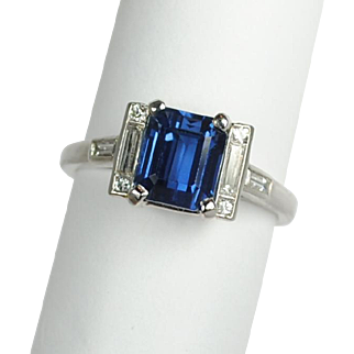 Art Deco Emerald Cut 2.65 carat Sapphire and Diamond Ring