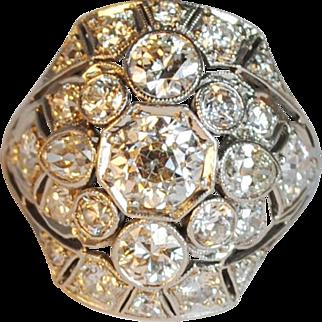 Amazing Art Deco Platinum Diamond Cluster Ring 3.48ctw.