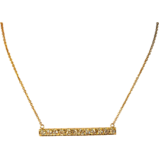 Upcycled 14kt Yellow Gold Diamond Bar Necklace 1.80ctw.
