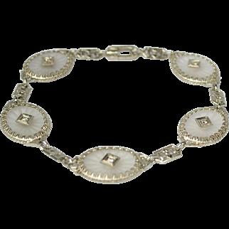 Art Deco 14kt Rock Quartz Crystal & Diamond Filigree Bracelet