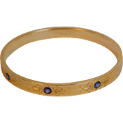 Art Nouveau 14kt Sapphire Engine-Turned Bangle Bracelet