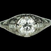 1.0carat Edwardian Platinum Engagement Ring