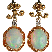14kt Opal and Diamond Earrings