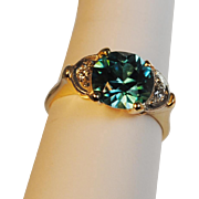 Retro Blue Zircon and Diamond Ring 14kt