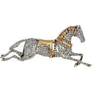 Large Mid-Nineteenth Century Silver Over Gold Diamond Equestrian Pin