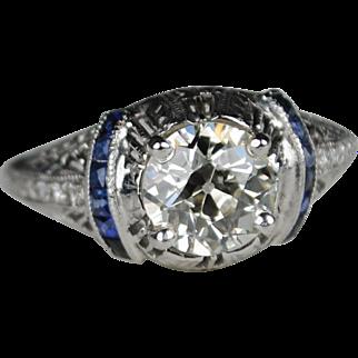 ON SALE 1.50 carat Diamond Art Deco Engagement ring with Shoulder Sapphires