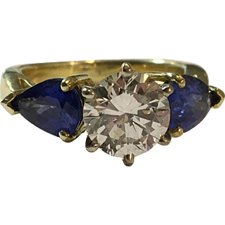 Estate 18kt Yellow Gold  1.39 carat Diamond and Sapphire 3-Stone Ring