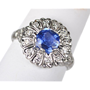 Cornflower Blue Sapphire and Diamond Ring in Platinum