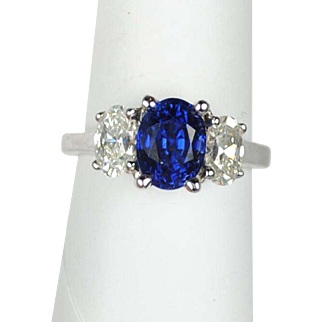 Royal Blue 2.49 carat Sapphire and Diamond Ring 18kt