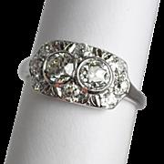 Art Deco Double Diamond Engagement Ring 1.56 ctw.